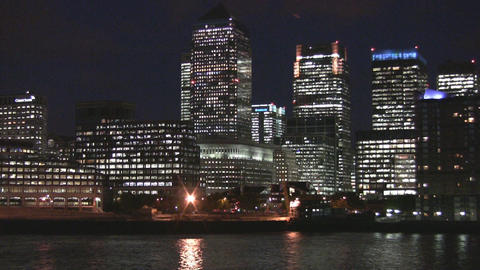 London - Canary Wharf and River Thames Stock Video Footage