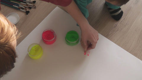 children painting 02 Stock Video Footage