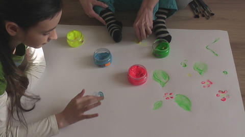 children painting 06 Stock Video Footage