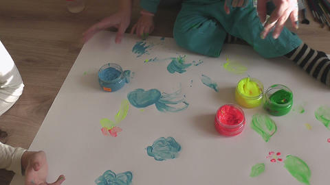 children painting 08 Stock Video Footage