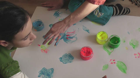 children painting 10 Stock Video Footage