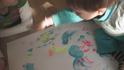 children painting 12 Stock Video Footage