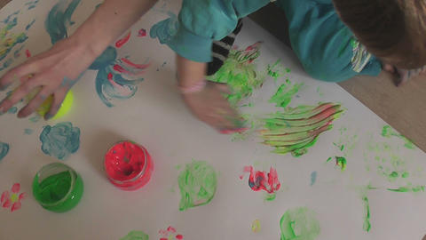 children painting 13 Stock Video Footage