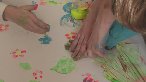 children painting 15 Stock Video Footage