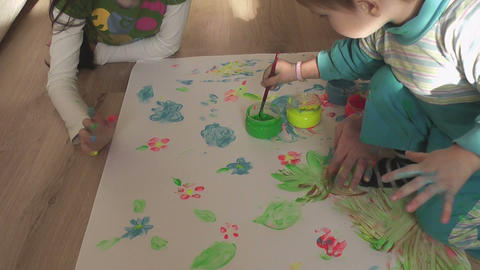 children painting 17 Stock Video Footage