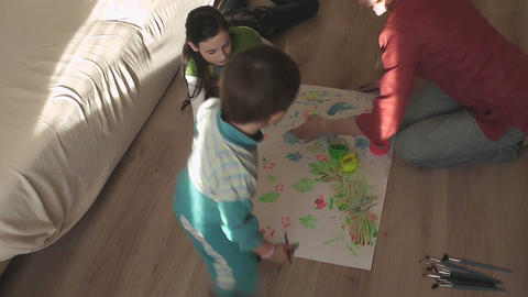 children painting 19 Stock Video Footage