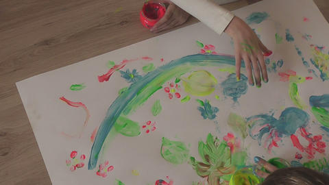 children painting 21 Stock Video Footage