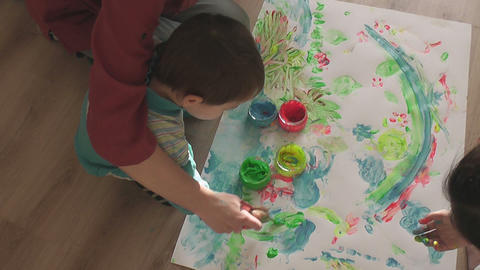 children painting Stock Video Footage
