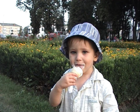 boy with ice Stock Video Footage
