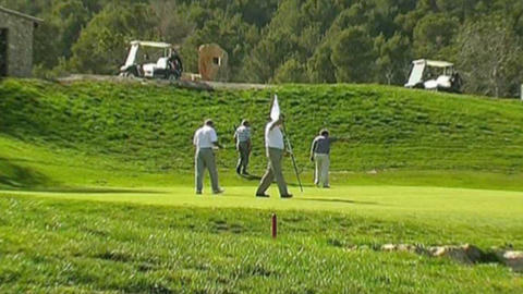 Golf player group Stock Video Footage