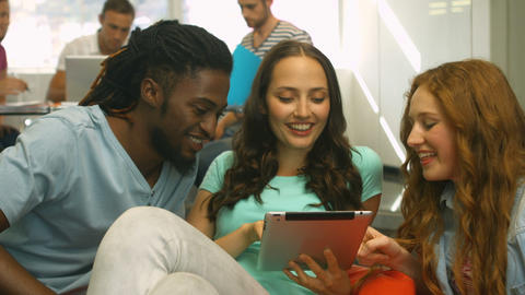 Students Using Tablet And Smiling stock footage
