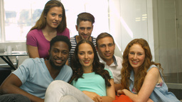 Students Smiling At Camera Together stock footage