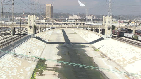 Downtown Los Angeles and the LA River Live Action
