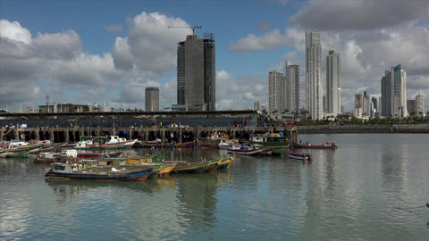 Panama City, view of the west side with fishing bo Footage
