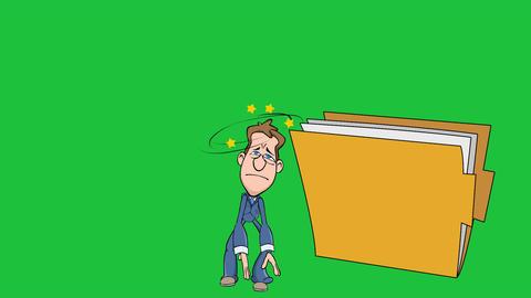 Big Idea Falls on Cartoon Man (Plain Folder) Animation