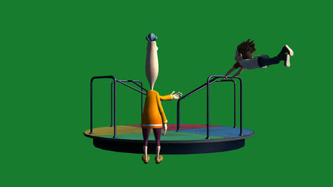 Boy Hanging on for Dear Life on Merry-go-Round: Ma Animation