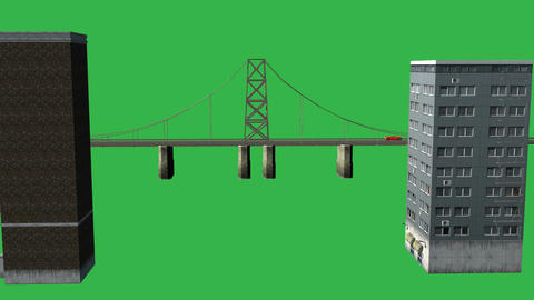 Animated Large Bridge with Buildings (Green Screen Animation