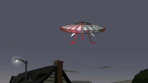 Cartoon UFO Landing Animation