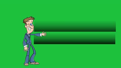 Cartoon Man Presents 3 Point Bullet Points (Green Screen) Animation