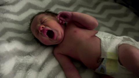 Newborn Baby Yawning Footage