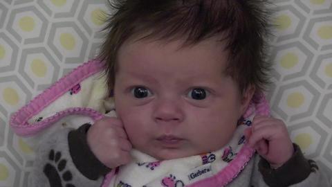 Newborn Baby With Big Eyes Footage