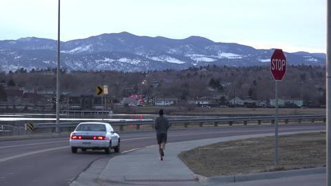 Man Jogging On Dust Car Drive Footage