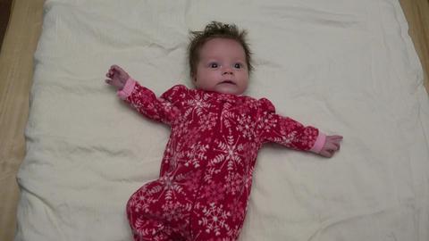 Cute Baby In Christmas Fleece Footage