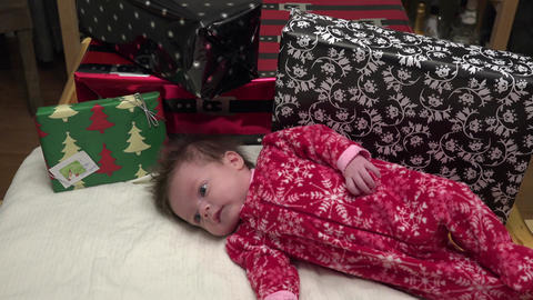 Baby With Christmas Gifts Footage