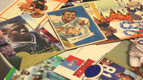 Retro Football Cards stock footage