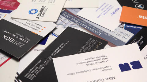 Variety Of Business Cards stock footage