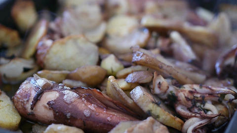 Baked Squid And Cuttlefish With Potatoes stock footage