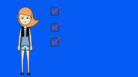 Cartoon Woman, Pointing to Three Checkboxes: Loopi Animation