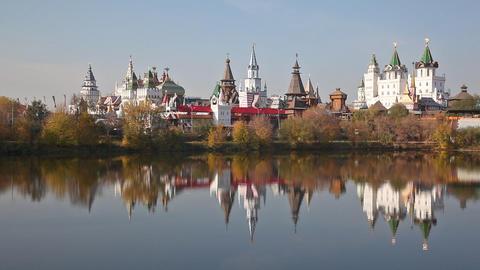 Izmaylovsky Kremlin is reflected in water. Moscow Footage