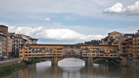 View Of Gold (Ponte Vecchio) Bridge In Florence stock footage