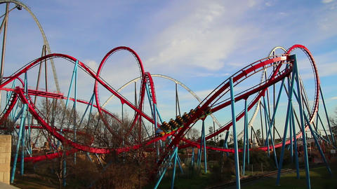 Huge Roller Coasters at an Amusement Park 02 Live Action