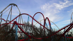 Huge Roller Coasters at an Amusement Park 03 Footage
