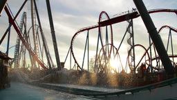 Huge Roller Coasters At An Amusement Park 05 stock footage
