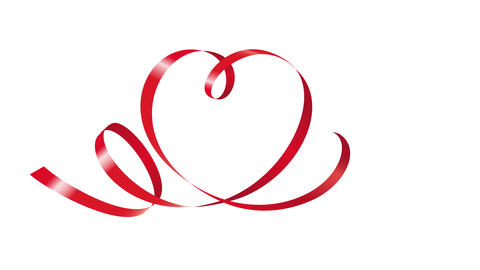 Red Ribbon In Shape Of Heart Animation 4K stock footage