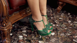 Psychotherapist green shoes feet standing up Footage