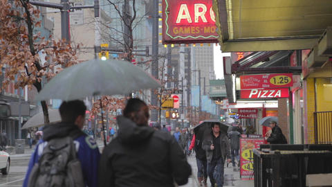Rainy day on granville street Vancouver Footage