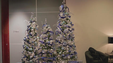 Blue Colored Christmas Trees stock footage