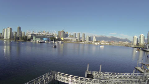 great day aerial - floating from olympic village t Footage