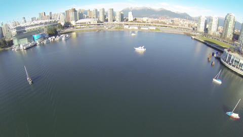 aerial pan from science world to BC place Footage
