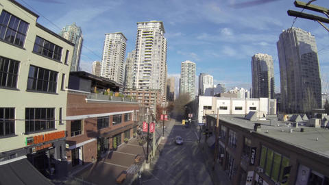aerial - Yaletown drone descending on mainland Footage