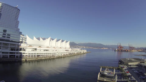 aerial - nice day towards Canada place and mountai Live Action