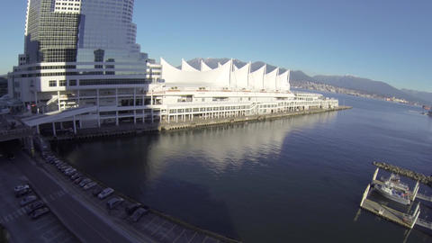 Aerial Canada place - landing Footage