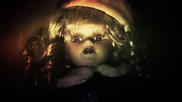 Scary Doll Zoom In 70s stock footage