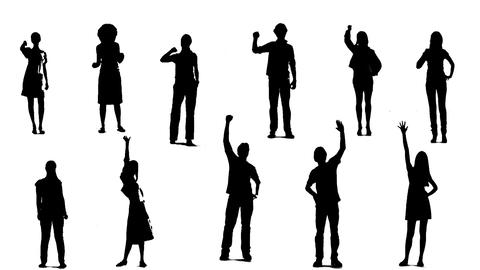 Silhouettes Of Young People Who Raise One Arm Up 1 stock footage