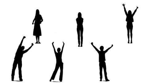 Silhouettes of young people who raise arms up 1 Animation