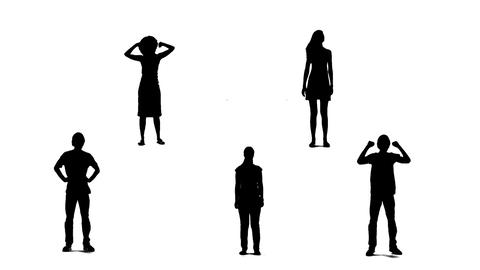 Silhouettes of young people who raise arms up 2 Stock Video Footage